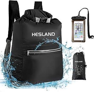 کوله پشتی کیسه ای ضد آب HESLAND 20L شناور رول بالا کیسه فشرده سازی خشک با کیف محافظ ضد آب ضد آب برای ساحل ، کایاک ، کمپینگ ، قایقرانی ، شنا ، ماهیگیری و پیاده روی