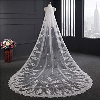 Wedding veil, Bridal veil Widened 1.8 Meters Soft veil Elegant Lace Edge Soft 1 Layer Tulle 3.5 m Long Wedding veil with Metal Comb