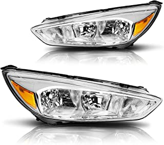 Direct Replacement Headlight Assembly Compatible with Ford Focus 15-18 Headlamps with Chrome Housing Amber Corner Pair