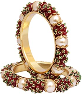 Ratna Traditional Bollywood Traditional Gold Tone Dark Pearl Polki Indian Bangle Bracelet Ethnic Partywear Jewelry