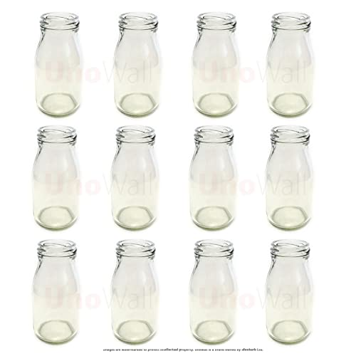 Classic Design Vintage Style 6 pc Milk Bottle set w//straws and carrying case