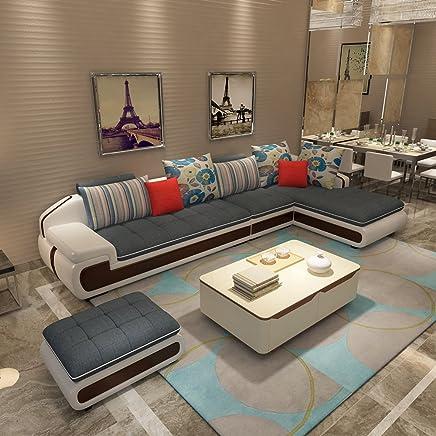 (10色可选 产品质保3年)现代时尚沙发 布艺沙发组合 简约现代款式新颖 皮布沙发转角沙发 客厅家具客厅沙发组合 大中小户型沙发 可部分拆洗 (三人位+贵妃位(左右贵妃可选)+脚踏(长度2.84米-适合中小户型), 灰色)(买就送清洁膏+空调被+高级沙发凳2张)