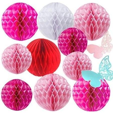【morningplace】 ハニカムボール 10個セット 爽やか 飾りつけ イベント 装飾 ウェディング 誕生日 に (ピンクベース)