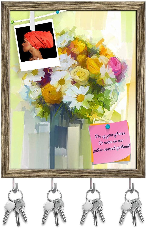 Artzfolio Still Life A Bouquet of Flowers D2 Key Holder Hooks   Notice Pin Board   Antique golden Frame 16 X 19.8Inch