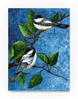 Chickadees by Sher Sester, 14x19-Inch Canvas Wall Art
