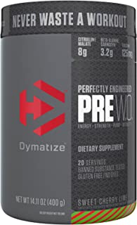 Dymatize Pre Workout Supplement Powder, Maximize Energy & Strength, Sweet Cherry Lime, 400 Gram