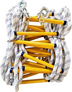 iksvmsis Emergency Fire Ladder Resistant Safety Rope Escape Ladder with Carabiners,Safety Rope Ladders for Tree House, Pla...
