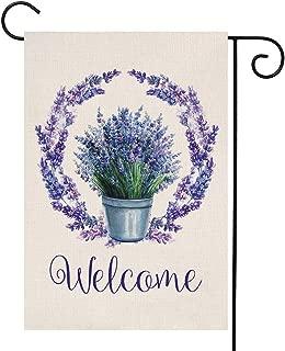 YOENYY Lavender Wreath Welcome Summer Small Garden Flag Farmhouse Fall Purple Flowers Burlap Vertical Double Sided Yard Decoration 12.5 x 18 Inch