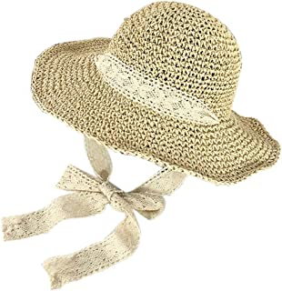 Straw Hat Beach Hat Round Cap Lace Shade Sunscreen Wide Brimmed Hat (Beige)