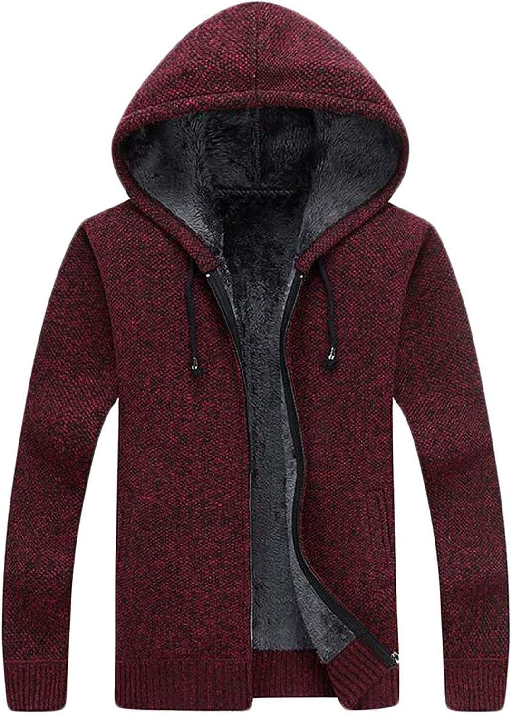 SELX Men Winter Hooed Fleece Hoodies Sweatshirt Wool Warm Thick Jacket