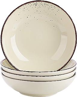 vancasso, Série Navia, Assiette Creuse en Céramique, Assiette à Soupe Saladier Faïence, 4 Pièces- 700 ML