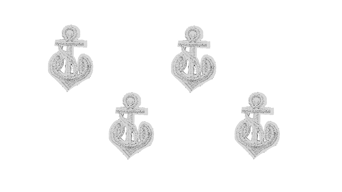 4 Small Silver Anchor Iron On Patch Motif Navy Applique Nautical Decal 1.4 x 0.9 inches (3.5 x 2.3 cm)