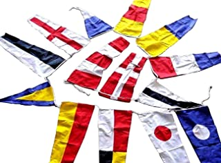 Marine Signalling Flags – 14 Flags Bunting - 12 Feet - 100% Cotton – Nautical/Boat/Beach Party (5176)
