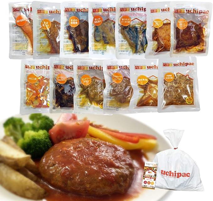 [Amazon限定ブランド] ウチパク お肉&お魚メインのおかず13種類セット 常温保存 [非常食にも使える日常食・在宅ワークの昼食にも便利] 保存料 着色料 無添加・賞味期限 1年