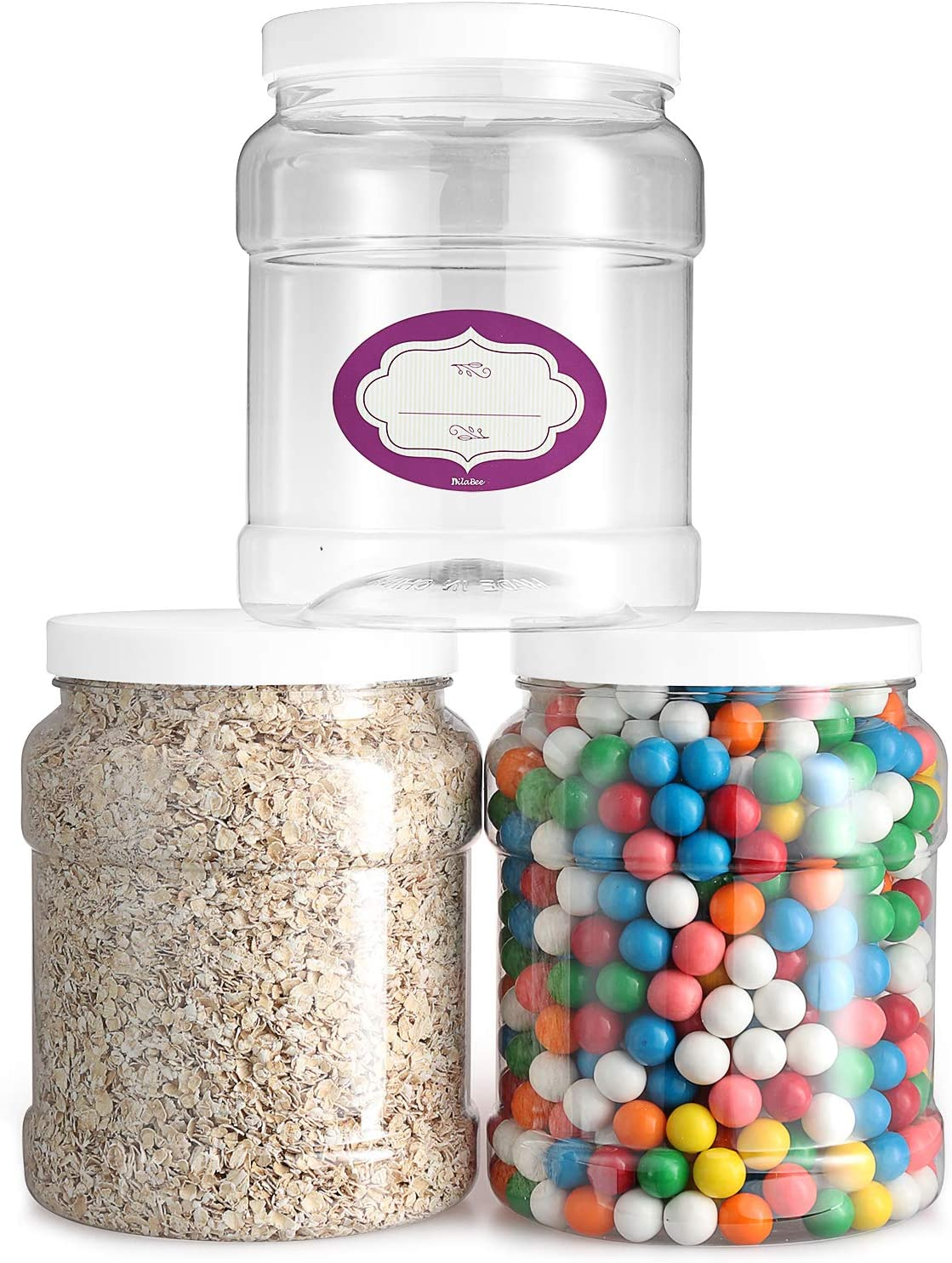 Pack Free shipping anywhere in Max 76% OFF the nation of 3-64 Oz Clear Empty Plastic Lids Storage containers with
