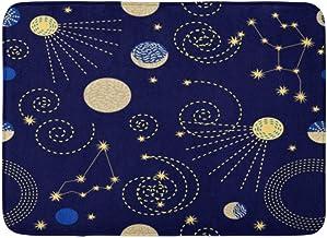 Doormats Bath Rugs Outdoor/Indoor Door Mat Zodiac Sky Constellations Crescent Moon Sputniks and Abstract Geometric 1950S 1...