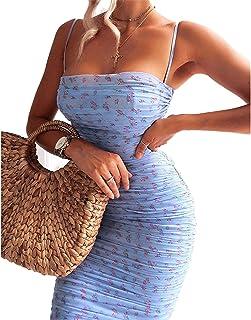 Vestido floral de manga abullonada de verano para mujer, sexy, sin mangas, ajustado, mini fruncido, vintage, casual, club,...