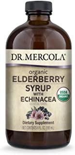 Dr. Mercola Organic Elderberry Syrup with Echinacea, 6 Fl. Oz. (36 Servings), Supports Immune and Respiratory Health*, Non...