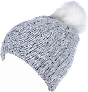 BYOS Women's Winter Warm Fleece Lined Rib Knit Faux Fur Pom Beanie Snow Ski Hat