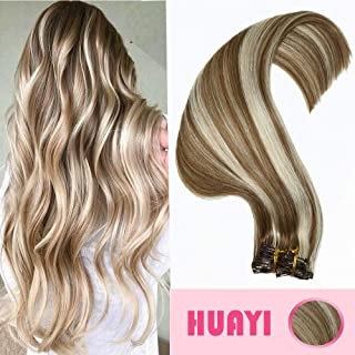 HUAYI Clip In Hair Extensions Human Hair Dirty Blonde Mixed Platinum Blonde 120g Double Weft Thick End For Full Head No Tangle No Shedding Silky Straight Balayage Hair (18P60#22