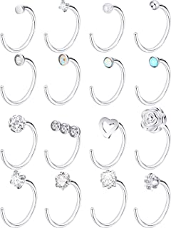 Jovitec 16 Pieces Stainless Steel Nose Stud Set Steel Nose Ring Rose Ball Labret Body Piercing Jewelry, 20 G