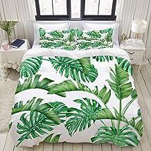 MOKALE Doona Cover Set, Green Tropical Palm Leaves and Monstera Rainforest Watercolor Botanical Aloha, Microfibre Duvet Co...
