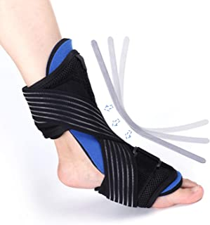 Plantar Fasciitis Night Splint – Adjustable Compression Elastic Strap, Dorsal Orthotic Foot Brace – Best Support for Achilles Tendonitis, Drop Foot, Heel, Ankle Pain Relief–Men/Woman (Right/Left)
