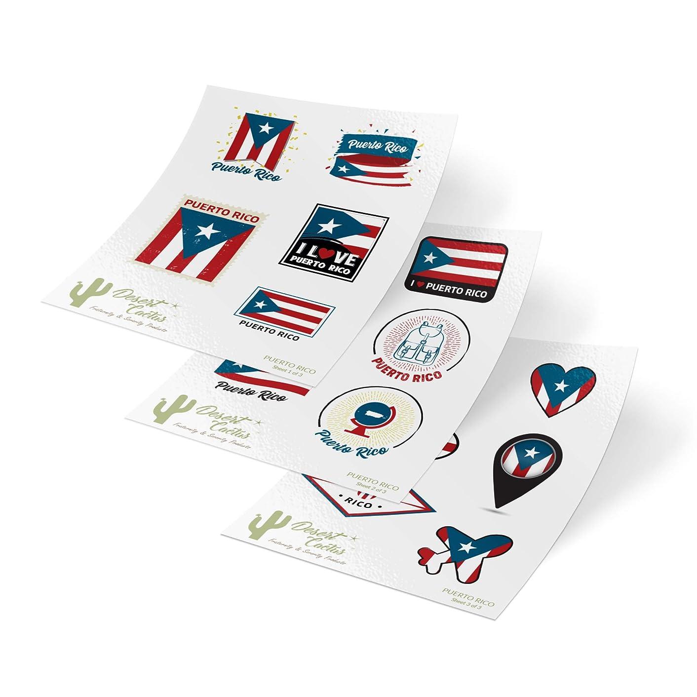 Puerto Rico State Flag Stickers Decals 3 Sheets 17 Total Pieces Kids Logo Scrapbook Car Vinyl Window Bumper Laptop 3 Sheets