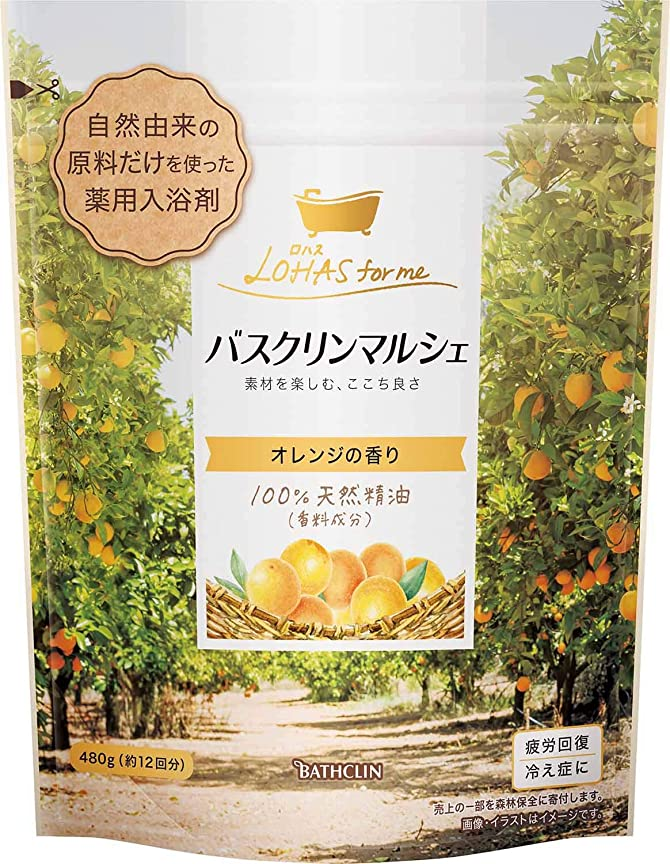 等々撤回する情緒的【医薬部外品/合成香料無添加】バスクリンマルシェ入浴剤 オレンジの香り480g 自然派ほのかなやさしい香り