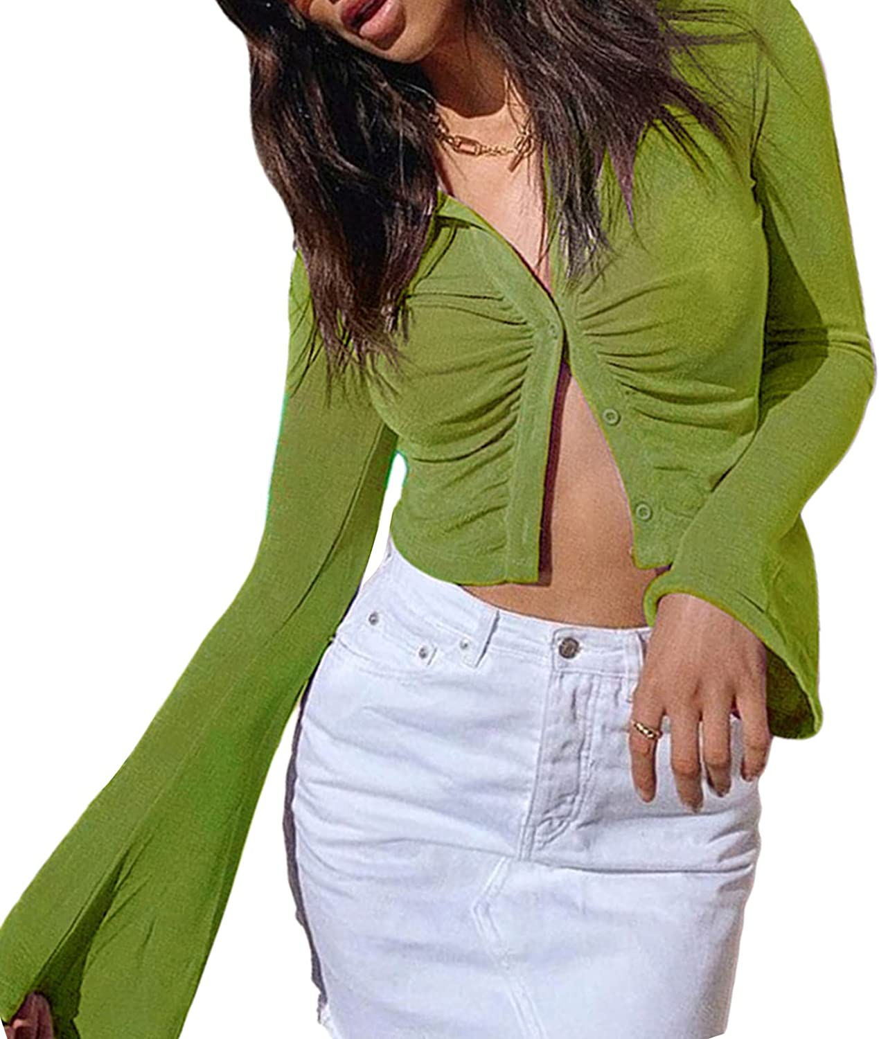 Women Sexy Button Down Crop Blouse Tops Y2K 90s Girls Flare Long Sleeve Lapel Neck Solid Color Slim Fit T-Shirt