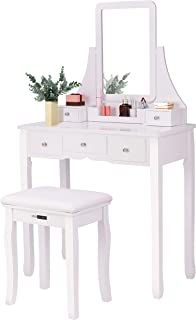 VIVOHOME Makeup Vanity Set with 5 Drawers and 1 Removable Organizer, Dressing Table with 360° Rotating Mirror and Cushioned Stool, White