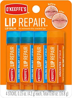 O`Keeffe`s Lip Repair Lip Balm for Dry, Cracked Lips, Stick (Pack of 4: 3 Cooling + 1 Unscented)