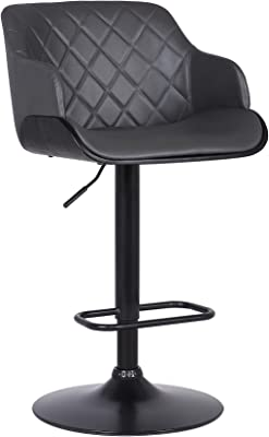Armen Living Toby Faux Leather Swivel Barstool, Adjustable, Gray and Black