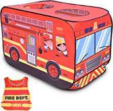 FunLittleToy Fire Truck Pop Up Play Tent for Kids with Fireman Costume, Kids Tent for Indoor & Outdoor