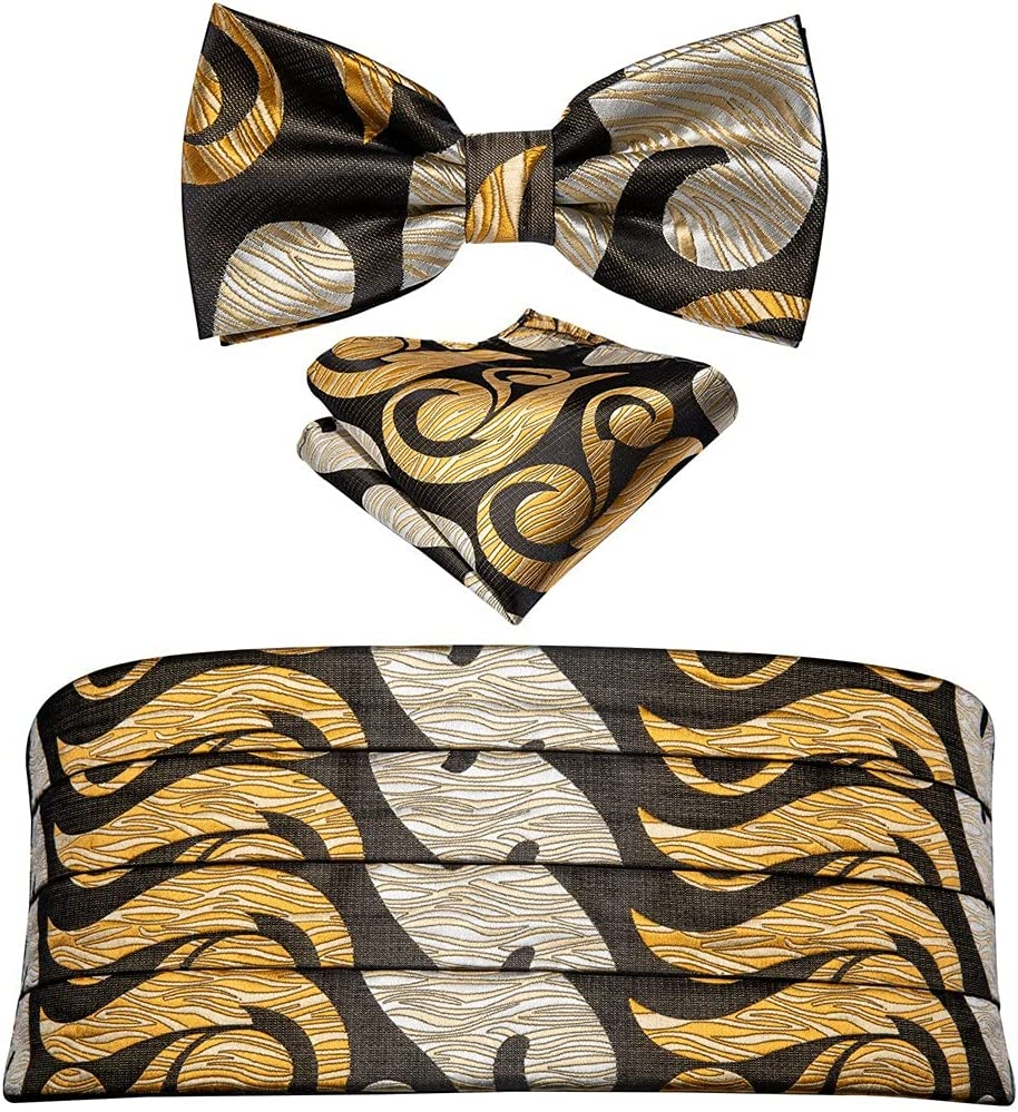 NJBYX Men Gold Cummerbund Black Bow Tie Silk Floral Set Pocket Square Cufflink Formal For Tuxedo Suit (Color : A, Size : One size)