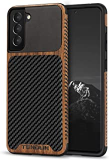 TENDLIN Compatible with Samsung Galaxy S21 Case Wood Grain with Carbon Fiber Texture Design Leather Hybrid Case