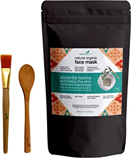 nature2us Therapeutic Bentonite Face Mask - Natural Volcanic Ash - 100% Sodium Bentonite for Deep Pore Cleansing, Skin Detox, Acne, Blackhead - Aztec Indian Healing Clay