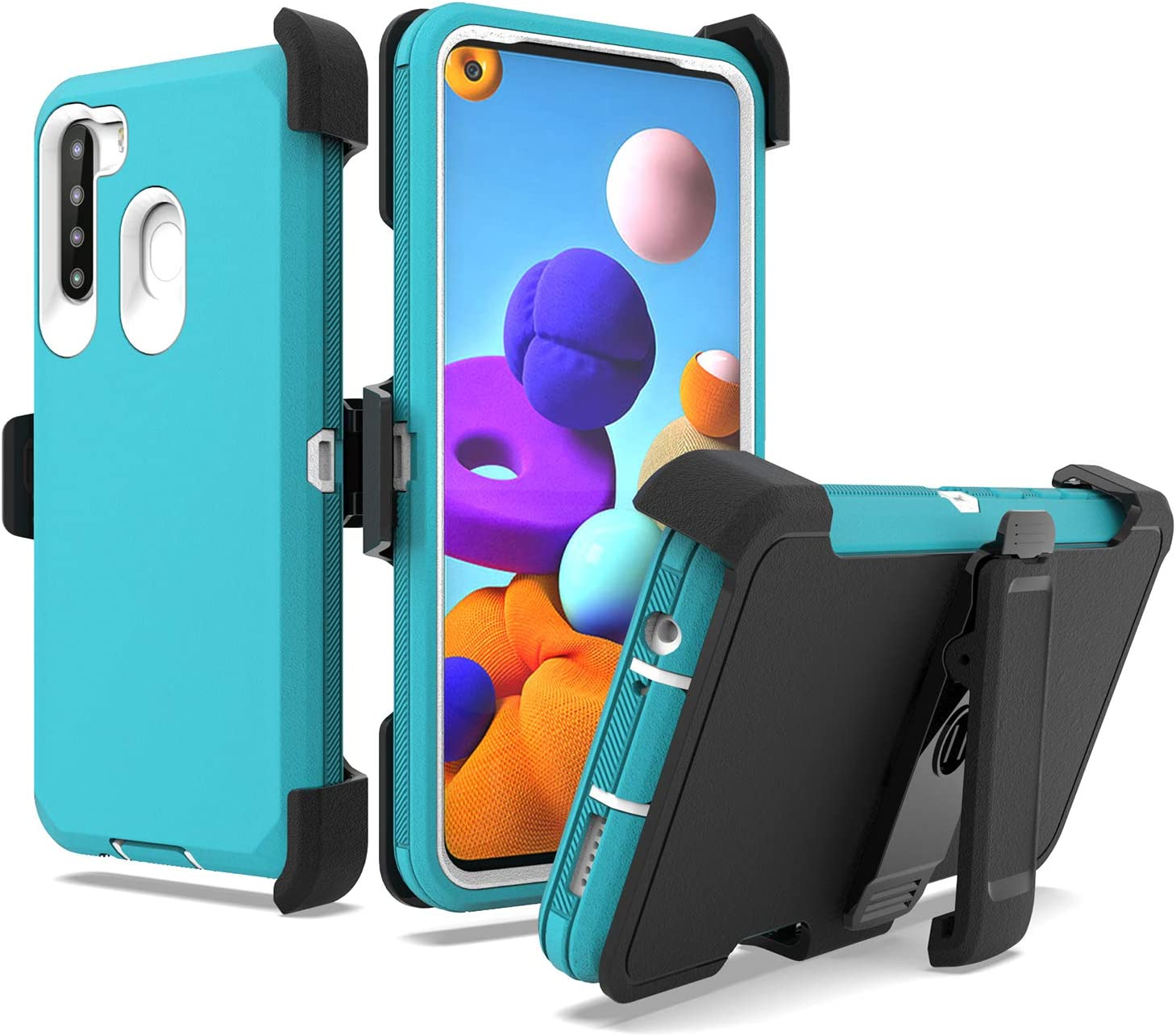 UNC Pro 3 in 1 Belt Clip Holster Cell Phone Case for Samsung Galaxy A21, Heavy Duty Hybrid Shockproof Bumper Case with Kickstand, Turquoise/White