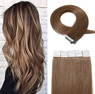 SEGO 20 Pieces Rooted Tape in Hair Extensions Human Hair Seamless Skin Weft 100% Real Remy Invisible Tape Hair Extensions Straight Double Sided 22 Inches #06 Light Brown 50g