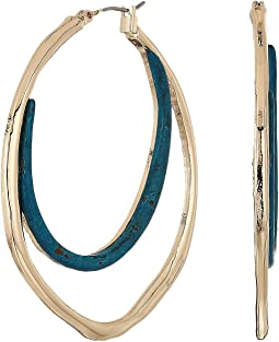 Sculptural Patina & Gold Double Hoop Earrings