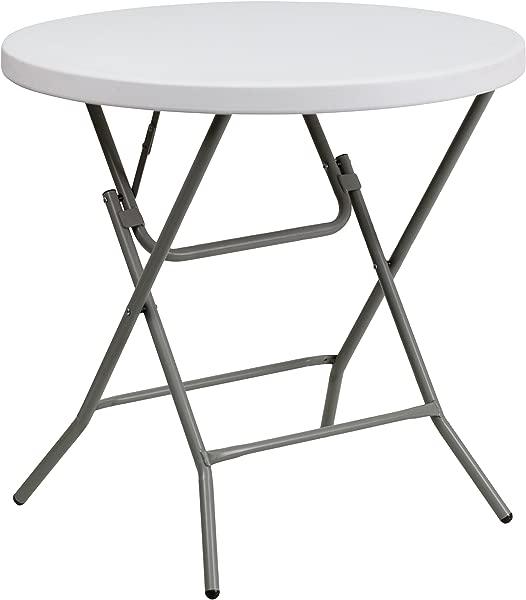 Flash Furniture Granite 32 Inch Round Folding Table White