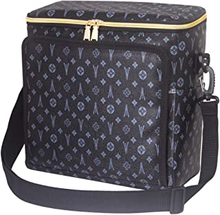 Lunch Bag Insulated Lunch Box for Women Men - Large Cooler Bag with Waterproof Thermal PU Soft Leather, Adjustable Shoulder Strap and Zipper - Lunch Shoulder Bag for Outdoor Picnic Hiking Work(Black)