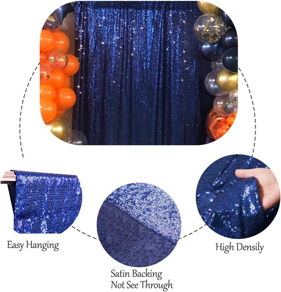 SquarePie Sequin Backdrop Non-Transparent Satin Photography Background Sparkly Curtain for Wedding Party 10FT x 10FT Black