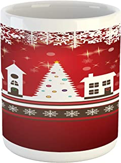 Ambesonne Christmas Mug, Winter Holidays Theme Gingerbread House with Trees and Snowflakes Artwork Print, Ceramic Coffee Mug Cup for Water Tea Drinks, 11 oz, White Red