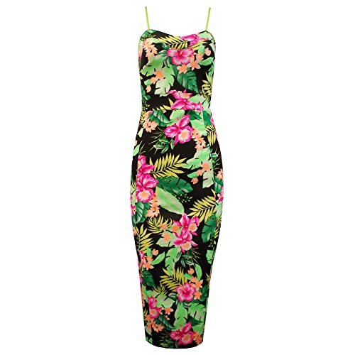76c444fd29aa0 Crazy Girls Ladies Strappy Floral Flower Print Knee Length Women s Bodycon  Fitted Midi Dress