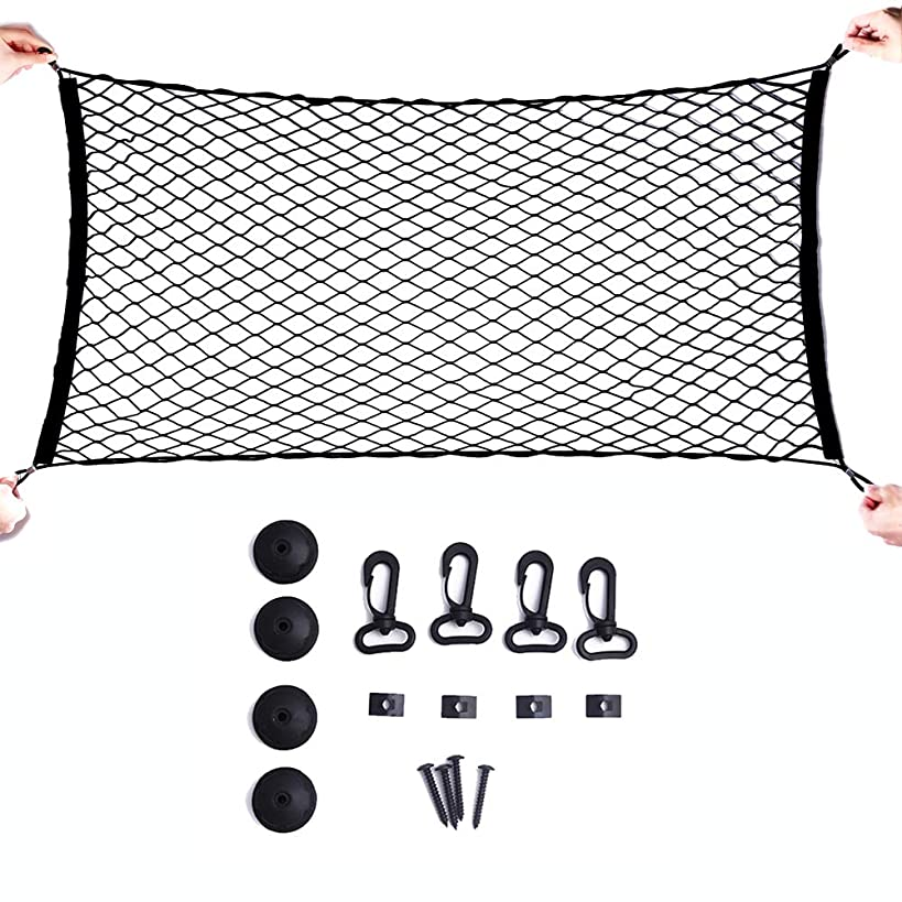 MAXTUF Cargo Net, 23.6''x47.2'' to 23.6''x70.8'' Flexible Elastic Trunk Cargo Organizer Nylon Car Mesh Net for SUV, Truck Bed, Pickup, with Utility Free Bonus Hooks to Fix on Without Rummaging