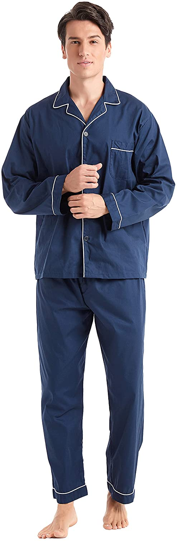 TONY AND CANDICE Men's Cotton Pajama Set, Long Sleeve Button-Down Woven Sleepwear