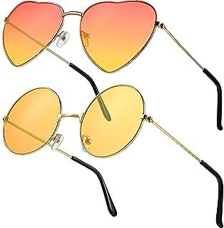 Lot de 2 paires de lunettes de soleil style hippie rétro pour homme et femme