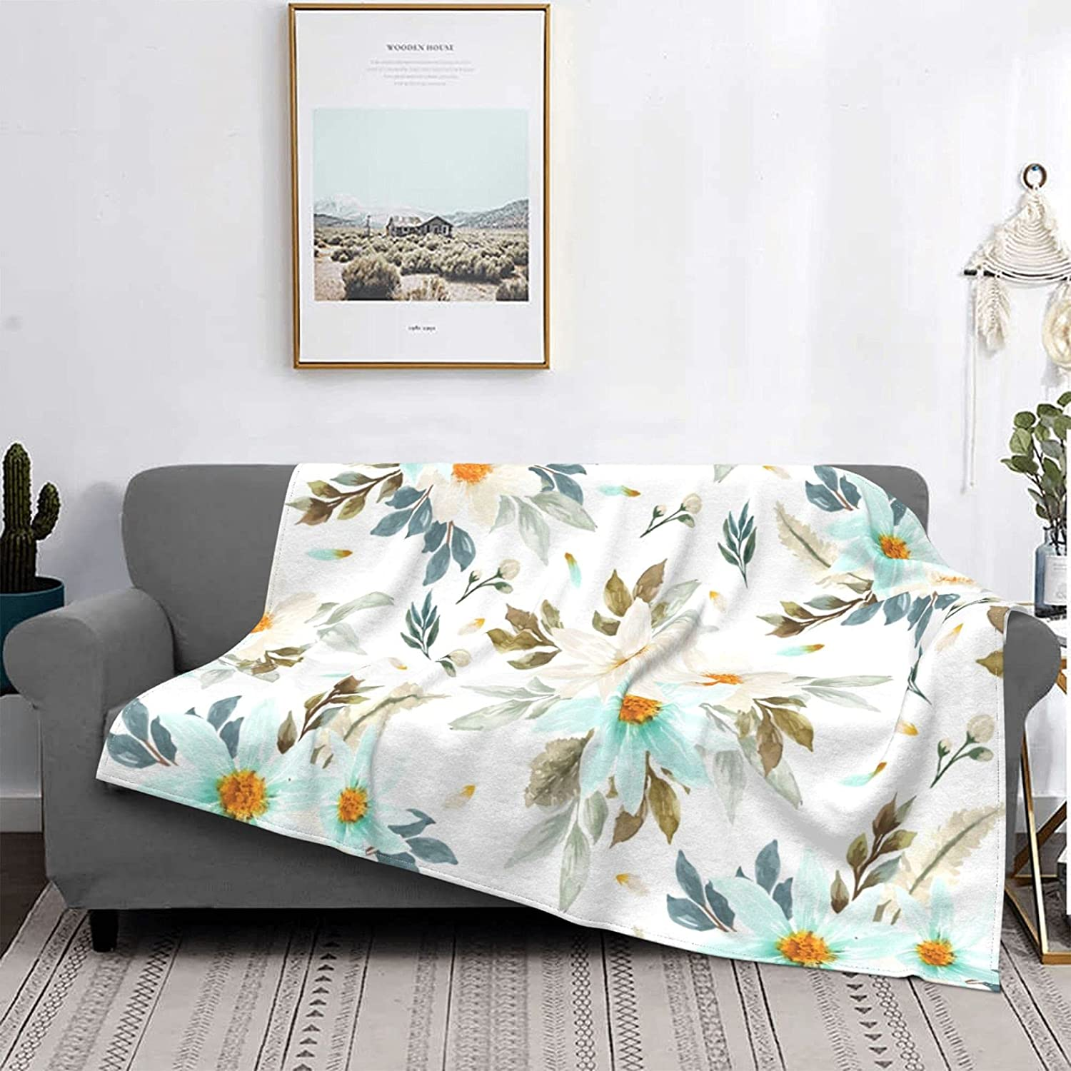 Watercolor White Blue Daisy Flowers Throw Unisex Cozy Excellent Blanket Max 85% OFF Pl