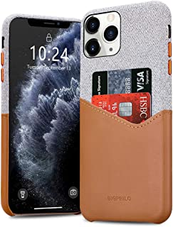 Bigphilo iPhone 11 Pro Max Case with Card Holder, Mix Series Slim Cover iPhone 11 Pro Max Wallet Style, Soft-Touch Fabric with Vegan Leather Case for iPhone 11 Pro Max (6.5-inch) - Gray/Brown